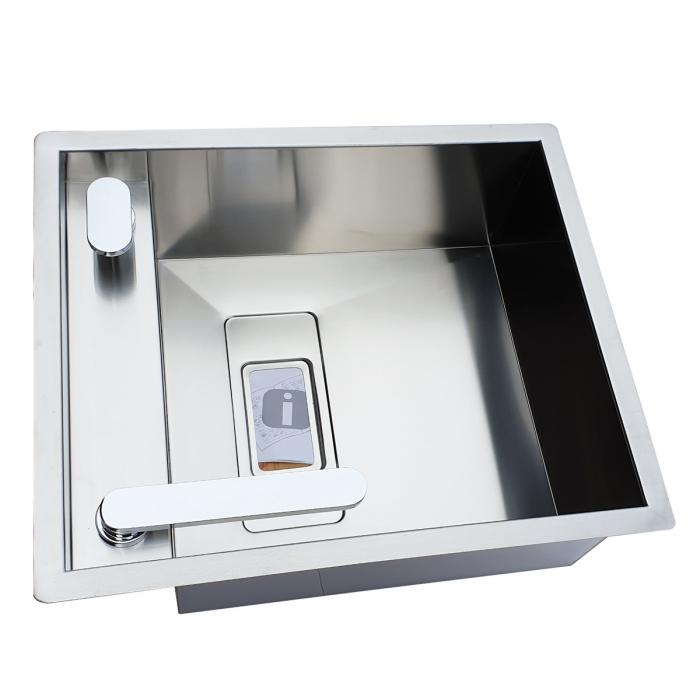 Chiuveta bucatarie inox CookingAid INVISIBLE 40R cu baterie telescopica integrata, capac scurgere invizibil, tocator sticla temperizata + accesorii montaj [4]