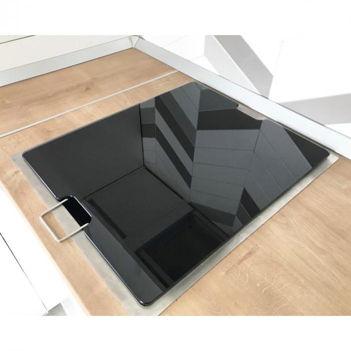 Chiuveta bucatarie inox CookingAid INVISIBLE 40R cu baterie telescopica integrata, capac scurgere invizibil, tocator sticla temperizata + accesorii montaj [2]