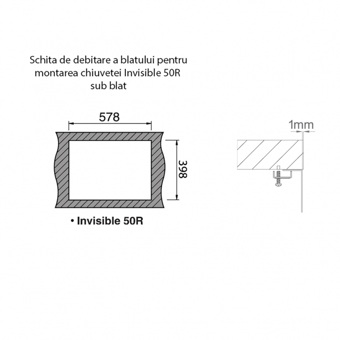 Chiuveta bucatarie inox CookingAid INVISIBLE 50R cu baterie telescopica integrata, capac scurgere invizibil + accesorii montaj [8]