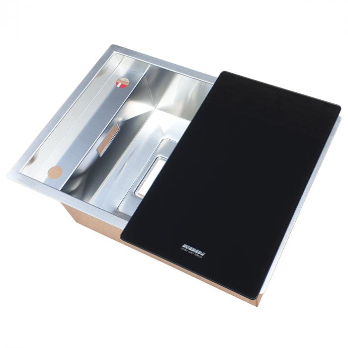Chiuveta bucatarie inox CookingAid INVISIBLE 50R cu baterie telescopica integrata, capac scurgere invizibil + accesorii montaj [9]