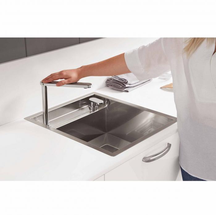 Chiuveta bucatarie inox CookingAid INVISIBLE 50R cu baterie telescopica integrata, capac scurgere invizibil + accesorii montaj [1]