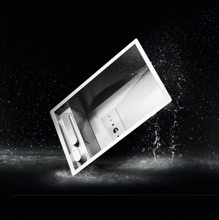 Chiuveta bucatarie inox CookingAid INVISIBLE 50R cu baterie telescopica integrata, capac scurgere invizibil + accesorii montaj [6]