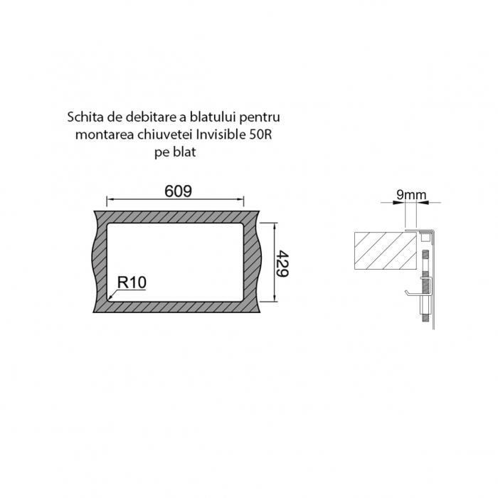 Chiuveta bucatarie inox CookingAid INVISIBLE 50R cu baterie telescopica integrata, capac scurgere invizibil + accesorii montaj [13]