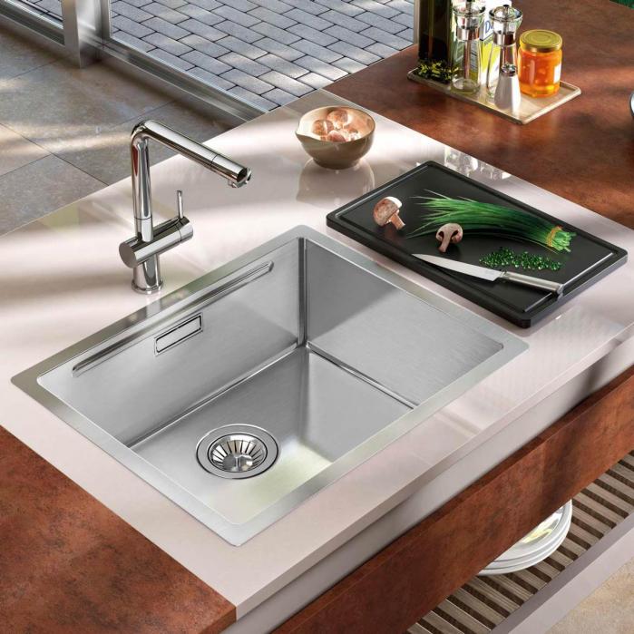 Chiuveta bucatarie inox CookingAid LUX STEP 50 + Bonus: tocator Versus din ABS reversibil in scurgator vase + accesorii montaj 2