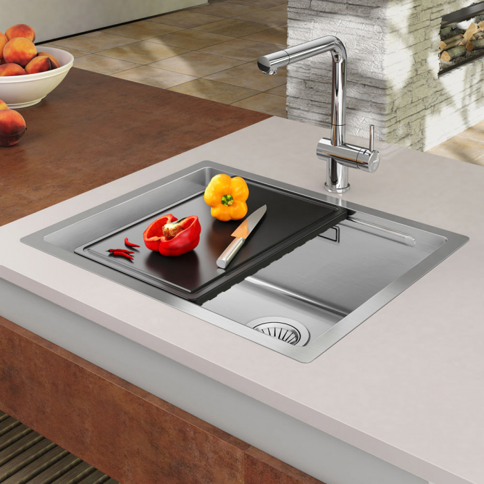 Chiuveta bucatarie inox CookingAid LUX STEP 50 + Bonus: tocator Versus din ABS reversibil in scurgator vase + accesorii montaj 0