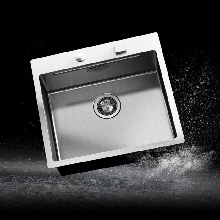Chiuveta bucatarie inox CookingAid LUX STEP 57 + Bonus: tocator Versus din ABS reversibil in scurgator vase + ventil automat scurgere + accesorii montaj 0