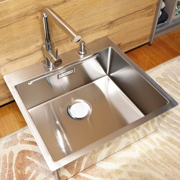 Chiuveta bucatarie inox CookingAid LUX STEP 57 + Bonus: tocator Versus din ABS reversibil in scurgator vase + ventil automat scurgere + accesorii montaj 5