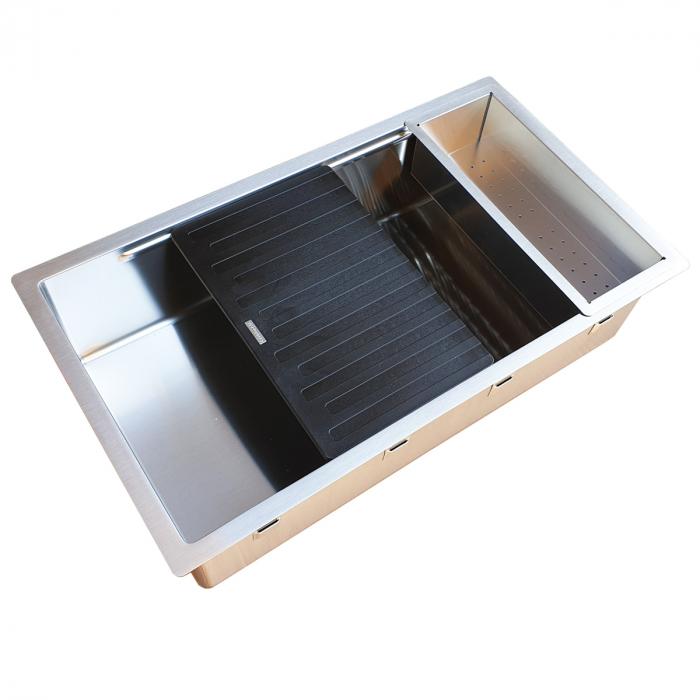 Chiuveta bucatarie inox CookingAid LUX STEP 74 + Bonus: tocator Versus din ABS reversibil in scurgator vase si accesorii montaj [10]