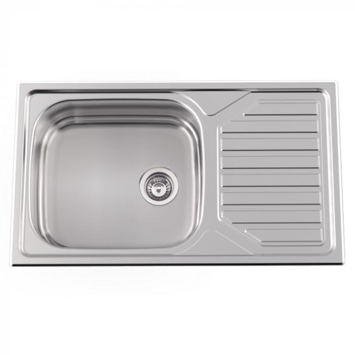 Chiuveta bucatarie inox CookingAid OKIO LINE 103 PL reversibila stanga/dreapta cu picurator si accesorii montaj [1]