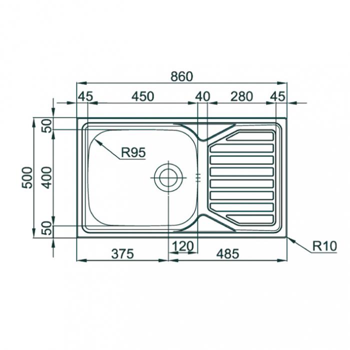 Chiuveta bucatarie inox CookingAid OKIO LINE 103 PL reversibila stanga/dreapta cu picurator si accesorii montaj [4]
