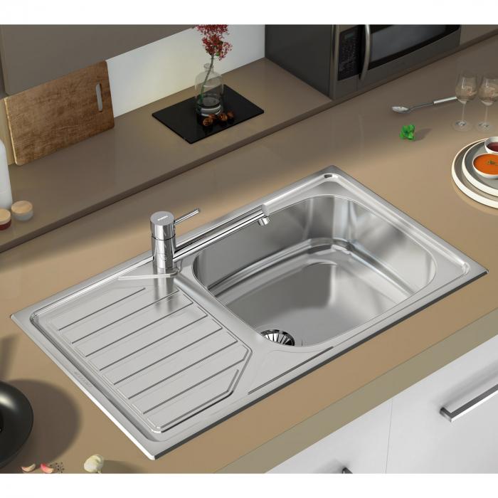Chiuveta bucatarie inox CookingAid OKIO LINE 103 PL reversibila stanga/dreapta cu picurator si accesorii montaj [2]
