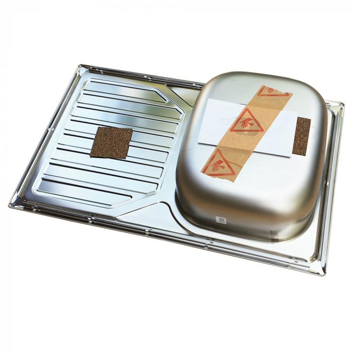 Chiuveta bucatarie inox CookingAid OKIO LINE 80 FLAT PL reversibila stanga/dreapta cu picurator si accesorii montaj 6