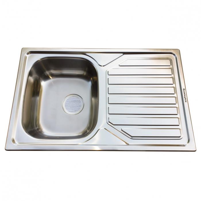 Chiuveta bucatarie inox CookingAid OKIO LINE 80 FLAT PL reversibila stanga/dreapta cu picurator si accesorii montaj 2