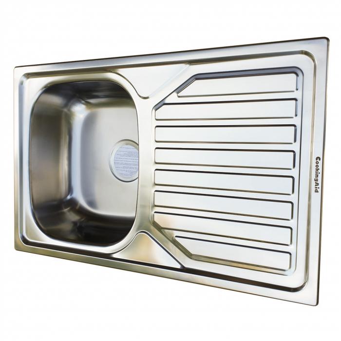 Chiuveta bucatarie inox CookingAid OKIO LINE 80 FLAT PL reversibila stanga/dreapta cu picurator si accesorii montaj 5