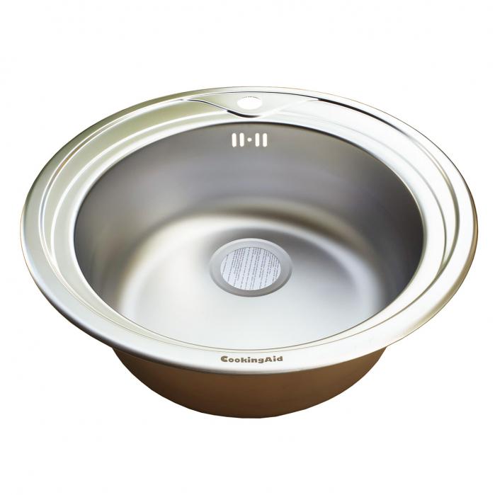 Chiuveta bucatarie inox CookingAid PIO REDONDO NP rotunda finisaj mat si accesorii montaj 11