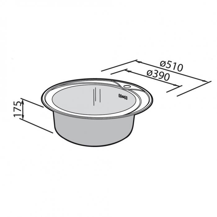Chiuveta bucatarie inox CookingAid PIO REDONDO PL rotunda finisaj SATINAT + accesorii montaj [9]