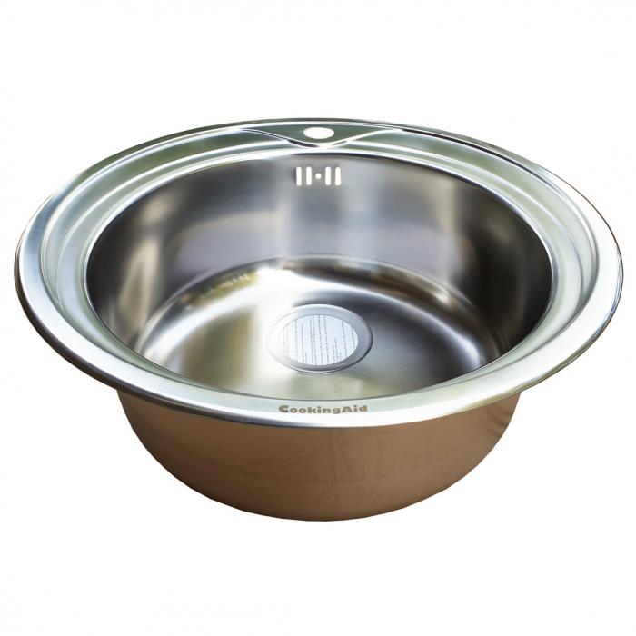 Chiuveta bucatarie inox CookingAid PIO REDONDO PL rotunda finisaj SATINAT + accesorii montaj [2]
