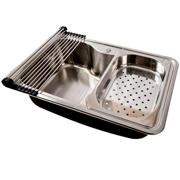 Chiuveta bucatarie inox CookingAid SELENA cu scurgator vase/paste/fructe, dozator sapun + accesorii montaj [9]