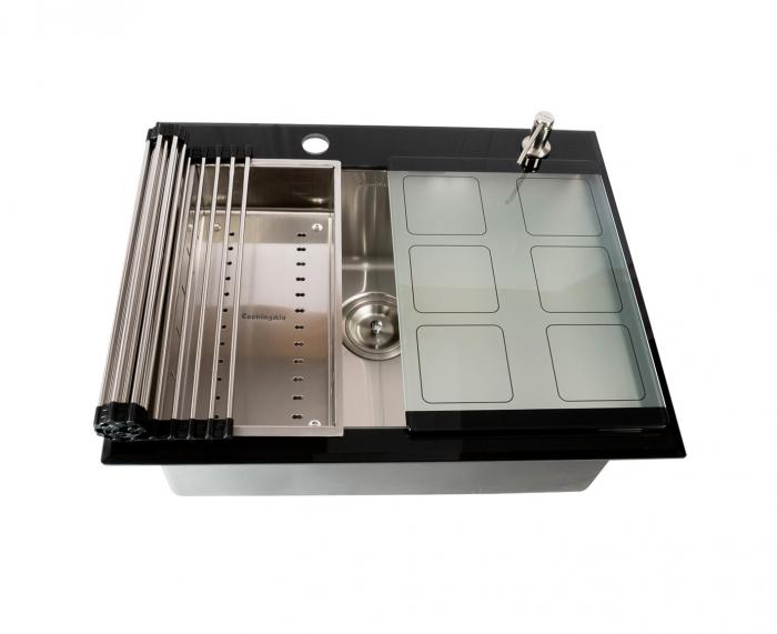 Chiuveta bucatarie inox CookingAid TEMPERED GLASS cu tocator personalizat sticla temperizata, scurgator vase/paste/fructe, gratar rulabil inox, dozator detergent + accesorii montaj 2
