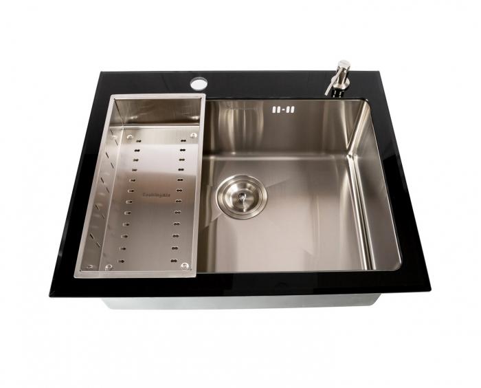Chiuveta bucatarie inox CookingAid TEMPERED GLASS cu tocator personalizat sticla temperizata, scurgator vase/paste/fructe, gratar rulabil inox, dozator detergent + accesorii montaj 4