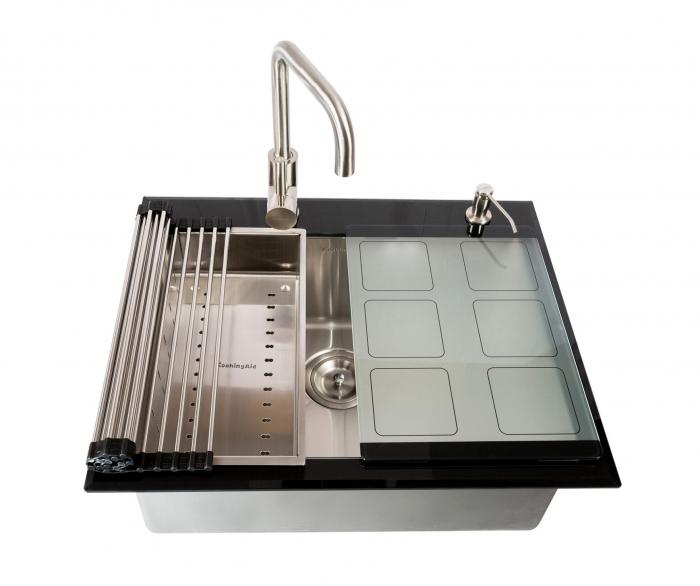 Chiuveta bucatarie inox CookingAid TEMPERED GLASS cu tocator personalizat sticla temperizata, scurgator vase/paste/fructe, gratar rulabil inox, dozator detergent + accesorii montaj 6