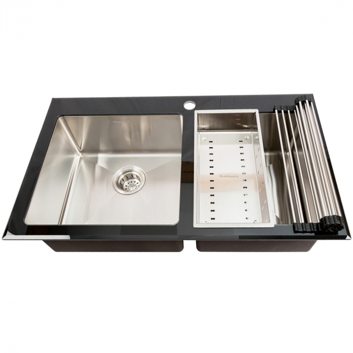Chiuveta bucatarie inox CookingAid TEMPERED GLASS DUO cu tocator personalizat sticla temperizata, scurgator vase/paste/fructe, gratar rulabil inox + accesorii [1]