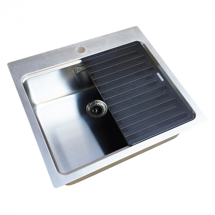 Chiuveta bucatarie inox CookingAid UNA 57 + Bonus: tocator Versus din ABS reversibil in scurgator vase + accesorii montaj [3]