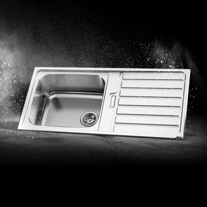 Chiuveta bucatarie inox CookingAid URBAN 105 reversibila stanga/dreapta cu picurator + accesorii montaj 0