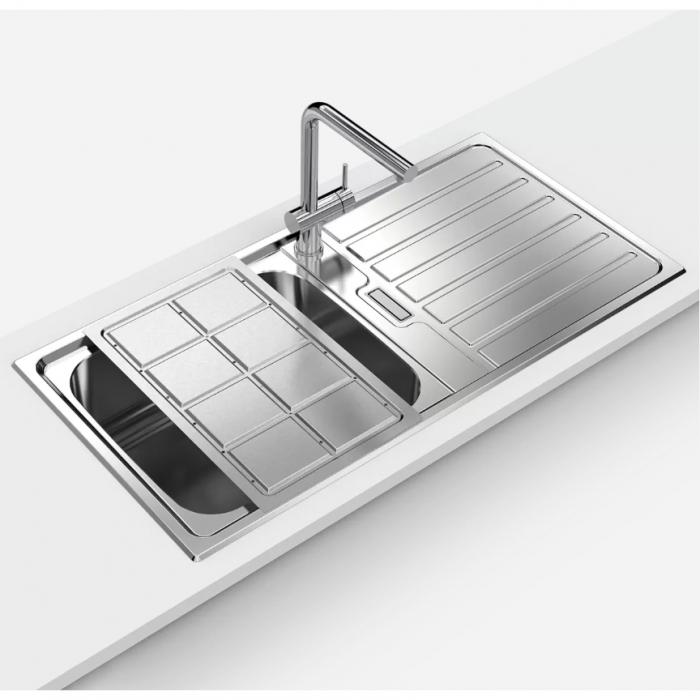 Chiuveta bucatarie inox CookingAid URBAN 105 reversibila stanga/dreapta cu picurator + accesorii montaj 3