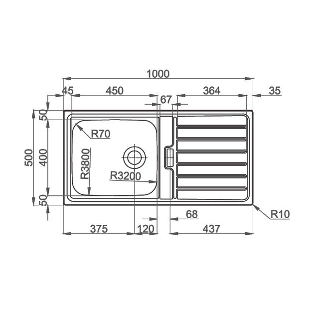 Chiuveta bucatarie inox CookingAid URBAN 105 reversibila stanga/dreapta cu picurator + accesorii montaj 4