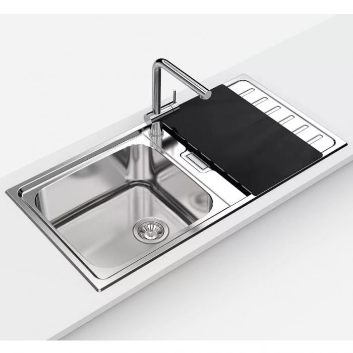 Chiuveta bucatarie inox CookingAid URBAN 105 reversibila stanga/dreapta cu picurator + accesorii montaj 2