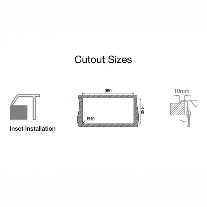 Chiuveta bucatarie inox CookingAid URBAN 105 reversibila stanga/dreapta cu picurator + accesorii montaj 5
