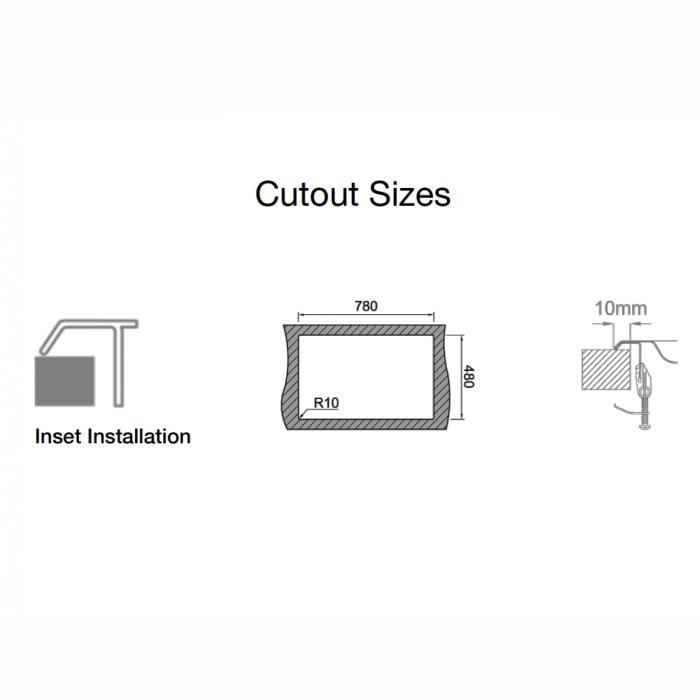 Chiuveta bucatarie inox CookingAid URBAN 80B reversibila stanga/dreapta cu picurator + accesorii montaj 8
