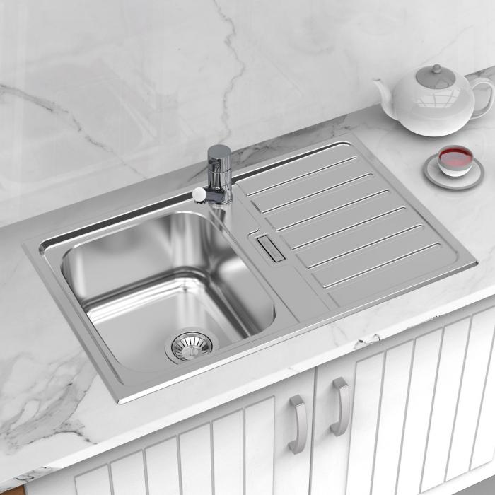 Chiuveta bucatarie inox CookingAid URBAN 80B reversibila stanga/dreapta cu picurator + accesorii montaj 0