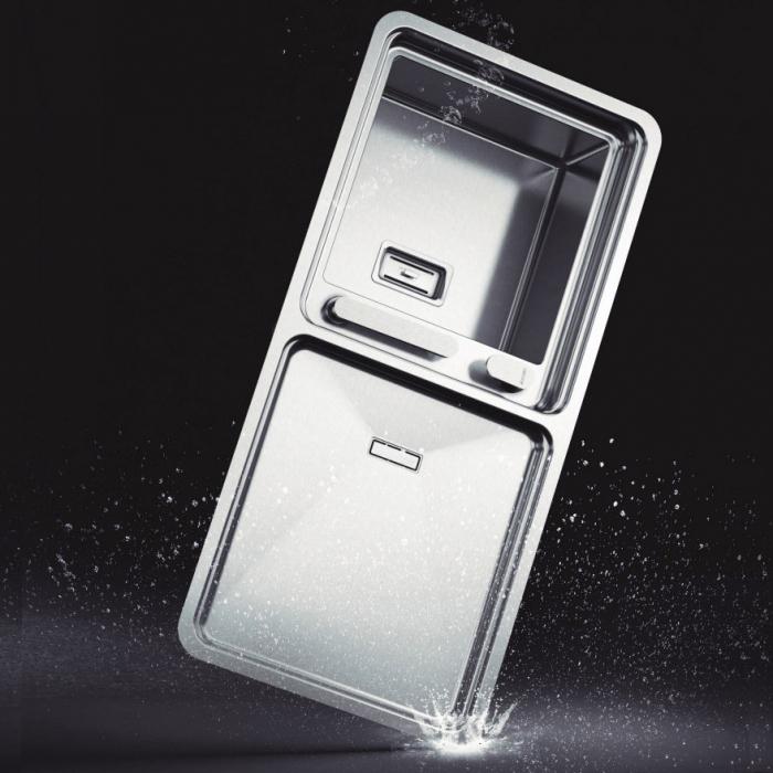 Chiuveta bucatarie inox CookingAid VISION 100 cu baterie telescopica integrata, tocator sticla temperizata + accesorii montaj 6