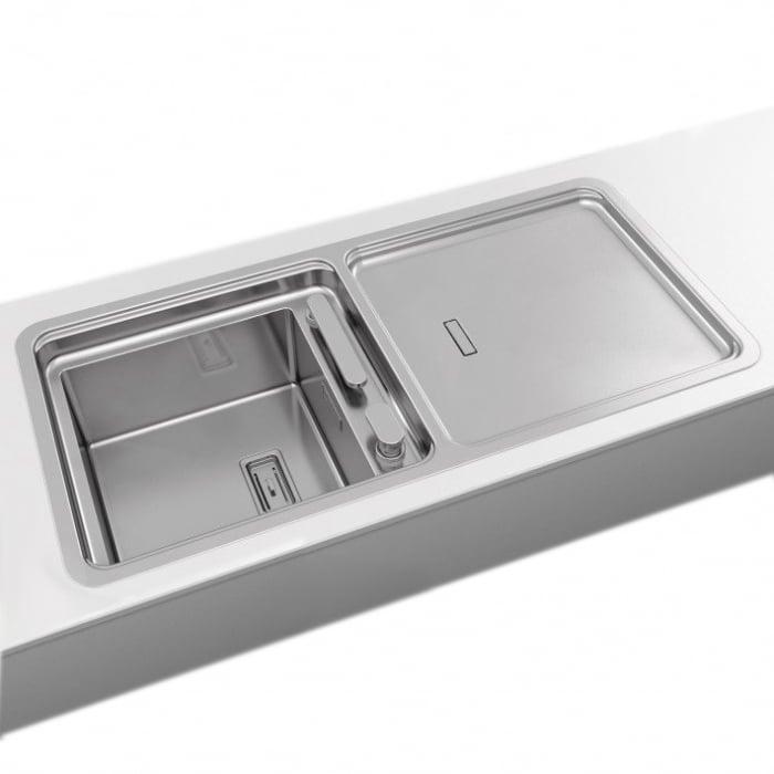 Chiuveta bucatarie inox CookingAid VISION 100 cu baterie telescopica integrata, tocator sticla temperizata + accesorii montaj 4