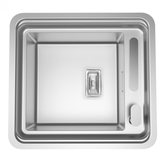 Chiuveta bucatarie inox CookingAid VISION 40 cu baterie telescopica integrata, tocator sticla temperizata + accesorii montaj ideala pentru montaj sub geam [5]