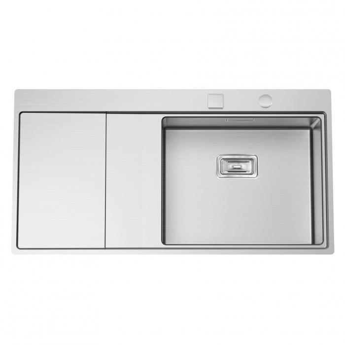 Chiuveta bucatarie inox CookingAid XERON 105 RIGHT cu ventil scurgere dreptunghiular automat si accesorii montaj [0]