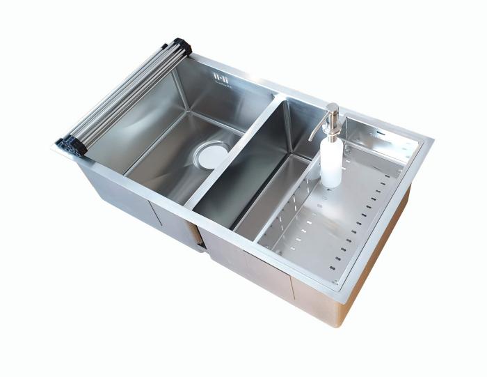Chiuveta bucatarie inox dubla CookingAid HERA DUO cu dozator detergent, scurgator vase/paste/fructe, gratar rulabil inox + accesorii montaj [6]