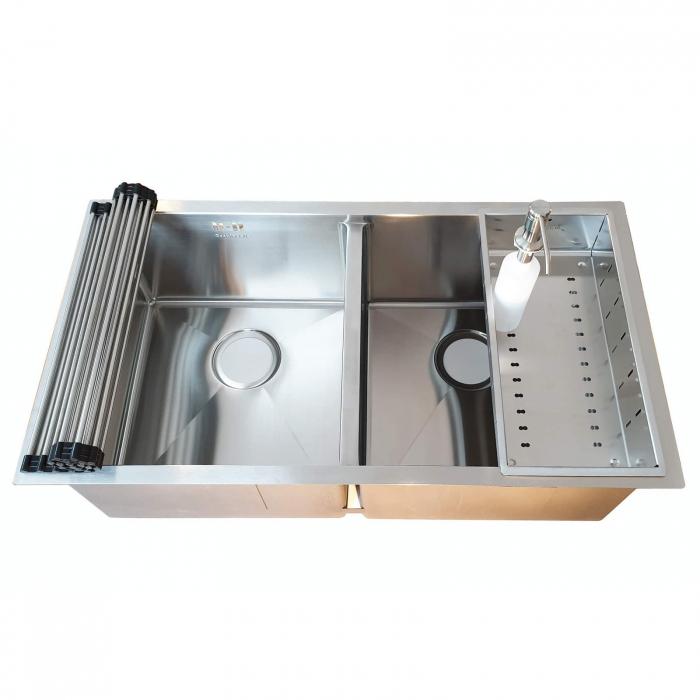 Chiuveta bucatarie inox dubla CookingAid HERA DUO cu dozator detergent, scurgator vase/paste/fructe, gratar rulabil inox + accesorii montaj [0]