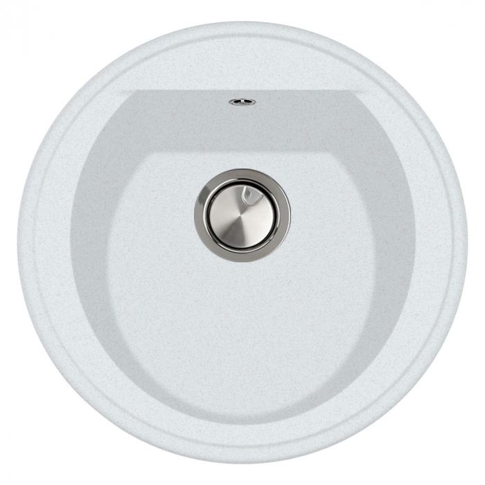 Chiuveta bucatarie rotunda granit CookingAid Naiky NK5110 Alba / Polar White + accesorii montaj 0