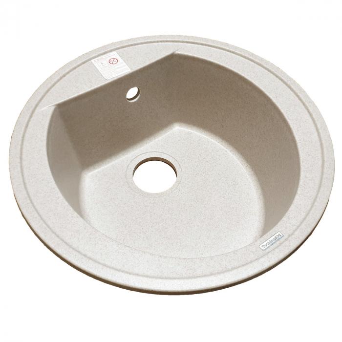 Chiuveta bucatarie rotunda granit CookingAid Naiky NK5110 Bej Pigmentat / Avena + accesorii montaj [12]