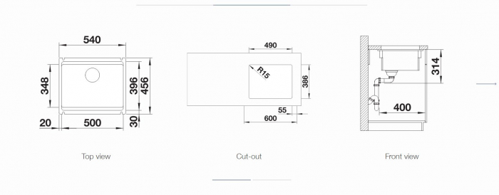 Chiuveta ceramica PuraPlus Blanco ETAGON 500-U InFino fara excentric [1]