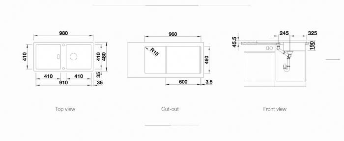 Chiuveta de bucatarie BLANCO ADON XL 6 S SILGRANIT® PuraDur® cu excentric [1]