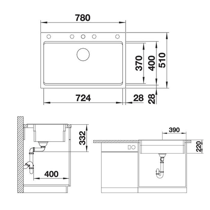 Chiuveta de bucatarie Blanco Etagon 8 silgranit cu accesorii si excentric [4]