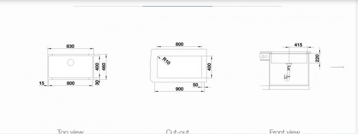 Chiuveta de bucatarie granit Blanco Subline 800U, fara excentric [4]