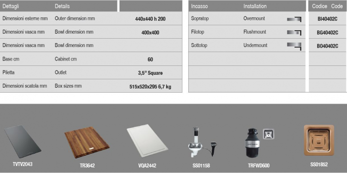 Chiuveta de bucatarie inox PVD ArtInox Titanium 40 culoare cupru [5]