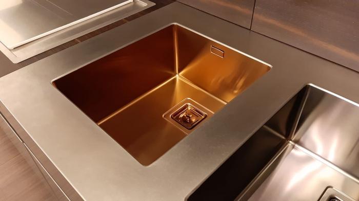 Chiuveta de bucatarie inox PVD ArtInox Titanium 40 culoare cupru [4]