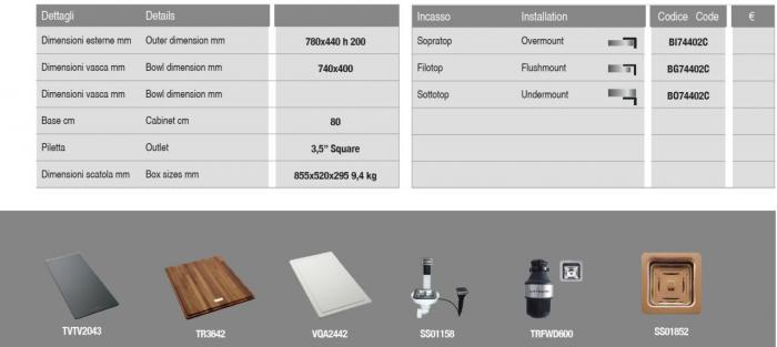 Chiuveta de bucatarie inox PVD ArtInox Titanium 74 cooper, culoare cupru [8]