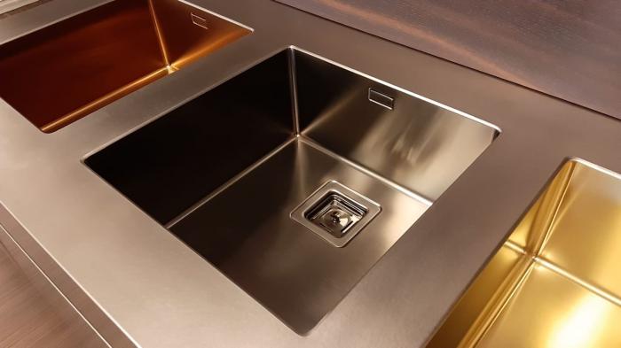 Chiuveta de bucatarie inox PVD ArtInox Titanium 74 gold, culoare aurie [6]